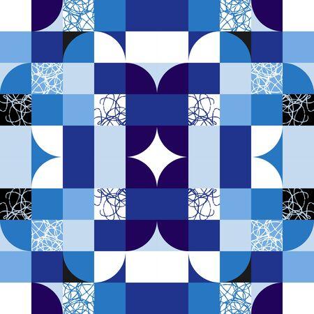 Simple geometric tiles vector texture. Nordic style blue seamless tiles.