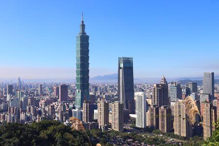 Taipei City urban skyline seen from Elephant Mountain.