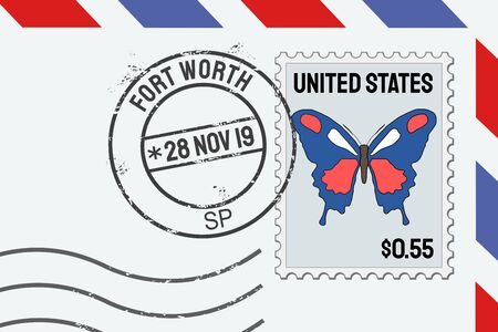 Fort Worth postage stamp - American post stamp on a letter. Stok Fotoğraf
