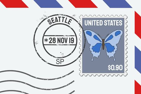 Seattle vector postage stamp - American post stamp on a letter.