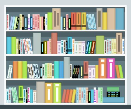 Vector bookshelf illustration. Book case at home or library. Фото со стока