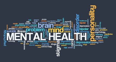 Mental health word cloud sign. Mental health concepts and issues.