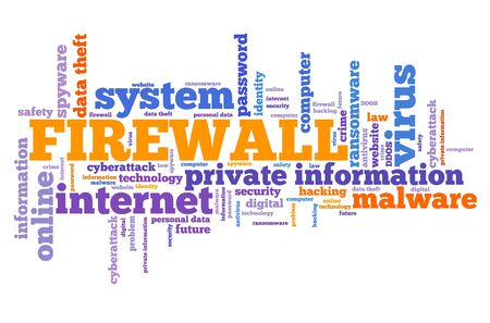 Firewall text sign - computer security concept. Word cloud.