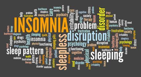 Insomnia concepts word cloud sign. Sleep disorder keywords graphics. Stock Photo