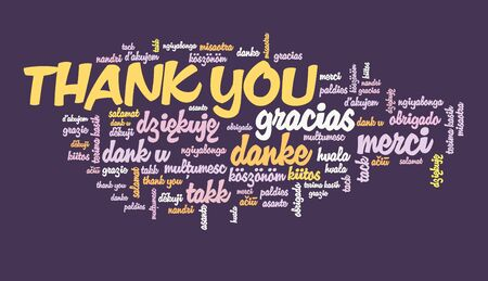 Thank you message sign. International thank you sign in many languages including English, French, German, Dutch and Polish. Banco de Imagens