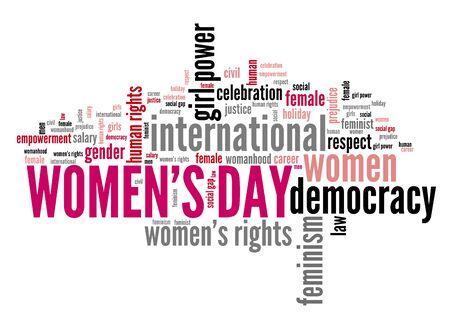 Womens Day keywords - feminism concept word cloud. Stock fotó