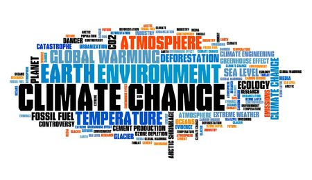 Climate change word cloud. Environment and global warming issues. Stock fotó
