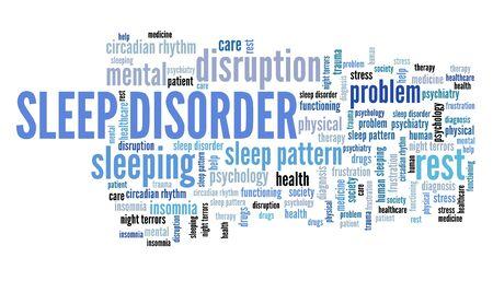 Sleep disorder concepts word cloud. Sleeping health keywords illustration. Stock Photo