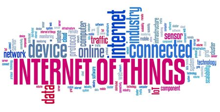 Internet of things - online connected devices technology. Word cloud concept. 写真素材