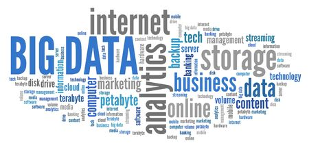 Big data text sign - market information analytics concept. Word cloud.