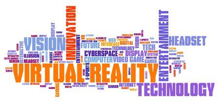 Virtual reality technology concept - VR word cloud. Stock fotó