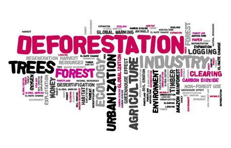 Deforestation word cloud. Urbanization and environment exploitation concept. Stock fotó