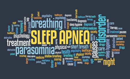 Sleep apnea concepts word cloud text sign. Sleep disorder keywords graphics.