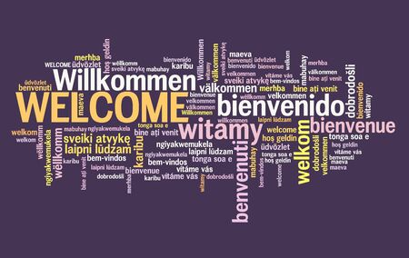 Welcome message sign. International welcome sign in multiple languages including English, German, Spanish and French. Banco de Imagens