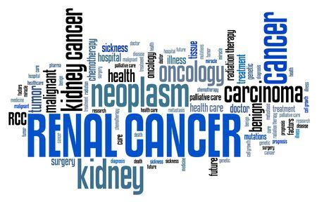 Cancro renale (cancro del rene) - concetto della nuvola di parola di malattia grave.