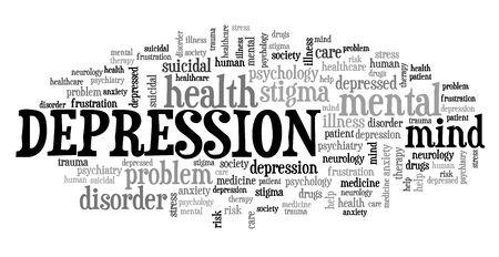 Depression concepts. Mental health word cloud sign. Фото со стока