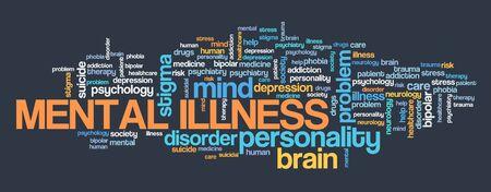 Mental illness word cloud concept. Mental health sign.