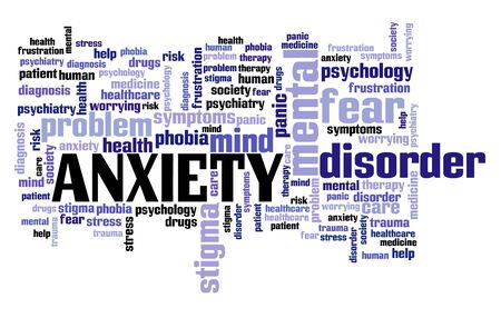 Anxiety concepts. Mental health word cloud sign.