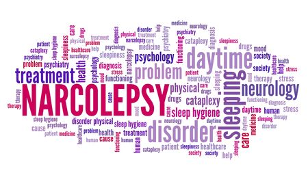 Narcolepsy concepts word cloud sign. Sleep disorder keywords graphics.