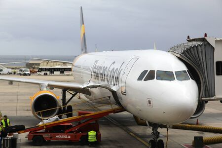 GRAN CANARIA, SPAIN - NOVEMBER 27, 2015: Thomas Cook Airbus A321 parked at Las Palmas Airport in Gran Canaria, Spain. Thomas Cook travel group went bankrupt in September 2019.