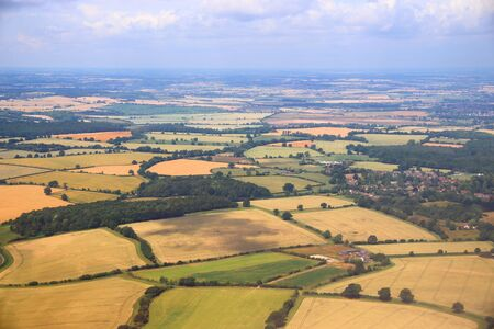 England countryside aerial view. Summer fields in Hertfordshire.