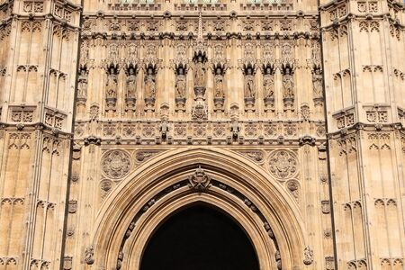 Palace of Westminster in London. Victoria Tower. Banco de Imagens