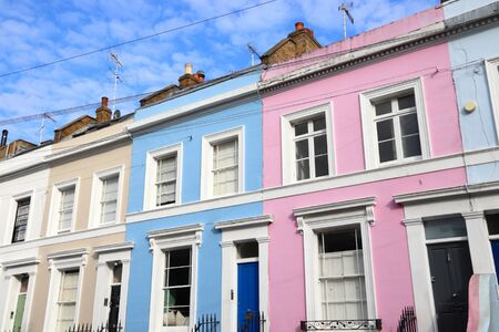 Notting Hill, London. Colorful residential neighborhood architecture.