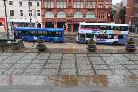 LEEDS, UK - JULY 11, 2016: People ride FirstLeeds double decker bus in Leeds, UK. FirstGroup employs 124,000 people.