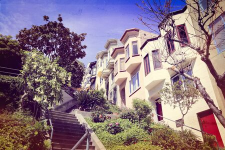 San Francisco, California - beautiful old architecture in Telegraph Hill area. Vintage filtered colors style. Stock Photo