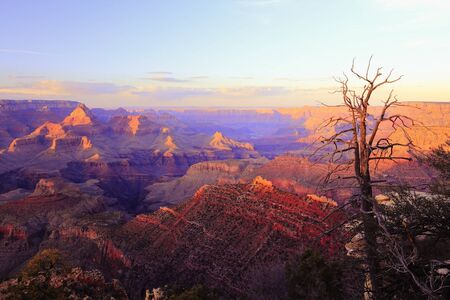 Grand Canyon sunset. Landscape in Arizona, United States. Vintage filtered colors style.