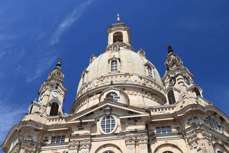 Dresden city, Germany - Frauenkirche Lutheran church. Baroque religious architecture.