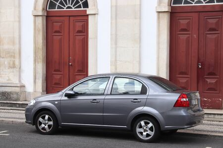 COIMBRA, PORTUGAL - MAY 26, 2018: Chevrolet Aveo economy compact sedan car in Portugal. There are more than 5.1 million motor vehicles registered in Portugal.