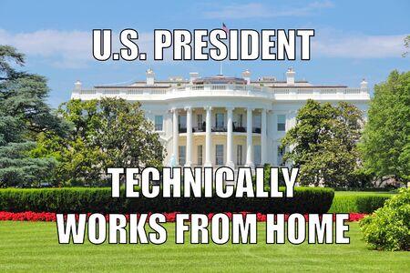 America funny meme for social media sharing. Working from home. Home office for U.S. President. Imagens