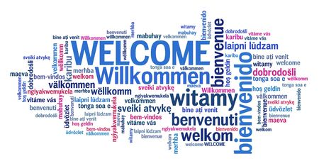 Welcome message sign. International welcome sign in multiple languages including English, German, Spanish and French. Stok Fotoğraf
