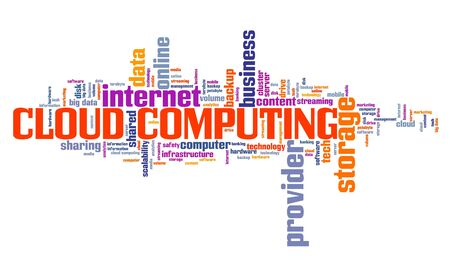 Cloud computing text sign - shared system resources concept. Word cloud.