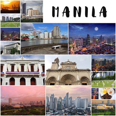Manila city postcard (Philippines) - travel place landmark photo collage. Manila collage.