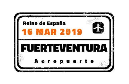 Fuerteventura passport stamp. Novelty vector travel stamp with island destination in Spain. Ilustracje wektorowe