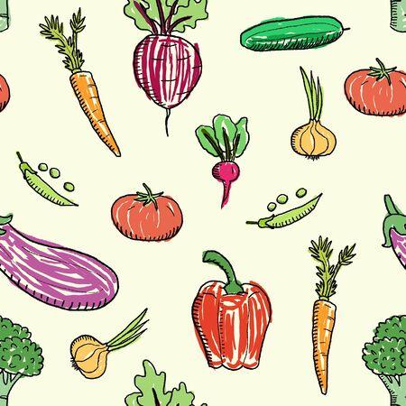 Cartoon vegetable vector. Seamless doodle vegetable texture.