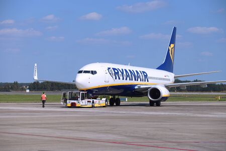 KATOWICE, POLAND - AUGUST 22, 2018: Low cost airline Ryanair Boeing 737 aircraft at Katowice Airport in Poland. Katowice is the 4th busiest airport in Poland (4.8 million annual passengers). Editorial