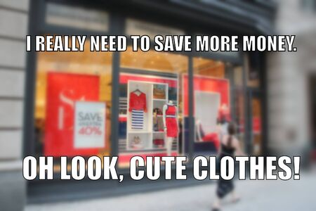 Shopping funny meme for social media sharing. Money saving problems humor. Standard-Bild