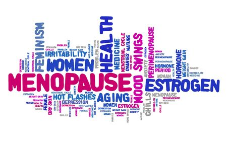 Menopause word cloud. Womens health concept text illustration.