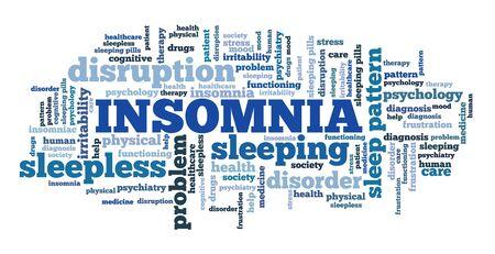 Insomnia concepts word cloud. Sleep disorder keywords illustration. Banque d'images - 131843503