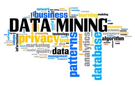 Data mining - online info harvesting and storage technology concept. Word cloud.