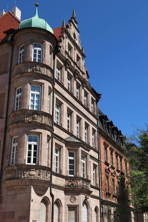 Nuremberg city, Germany. Old residential architecture street view.