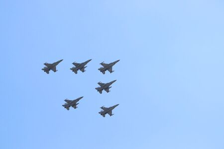 KATOWICE, POLAND - AUGUST 15, 2019: Air show for Armed Forces Day in Katowice, Poland. F-16 Polish Air Force fighter aircraft flying over Katowice.