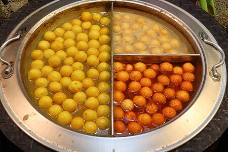 Taiwanese cuisine - fish balls. Jiufen Old Street market.
