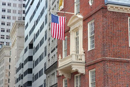 Old State House - landmark on Freedom Trail in Boston, USA. Stock Photo
