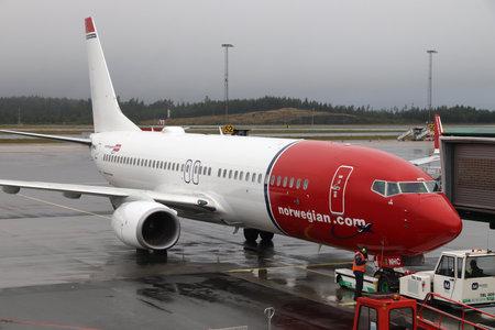 GOTHENBURG, SWEDEN - AUGUST 28, 2018: Norwegian Air Shuttle Boeing 737 at Gothenburg Landvetter airport in Sweden. It is the 2nd busiest airport in Sweden with 6.8 million annual passengers (2017).