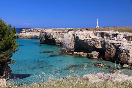 Salento coast landscape in Italy. Roca Vecchia in Apulia region.