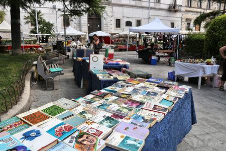 ALTAMURA, ITALY - JUNE 4, 2017: Old book stand at a flea market in Altamura, Italy.